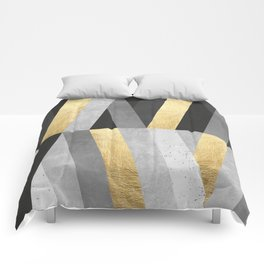 Gold and gray lines I Comforters