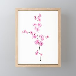Pink cherry flowers painting, Floral Framed Mini Art Print
