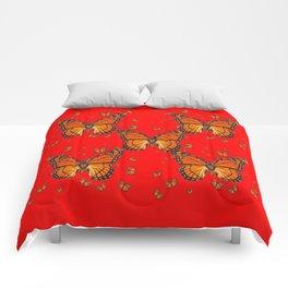 ORANGE MONARCH BUTTERFLIES RED MODERN ART MONTAGE Comforters