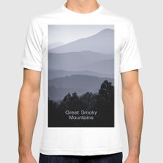 Misty morning at the Smoky's Mens Fitted Tee MEDIUM White