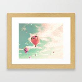Pink nursery hot air balloons Framed Art Print