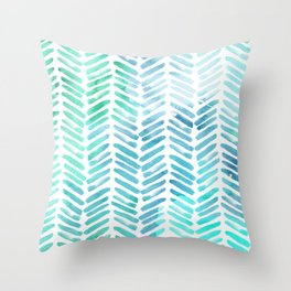 Handpainted Chevron pattern - light green and aqua - stripes Throw Pillow