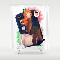 amy pond Shower Curtains featuring Doctor Who - Amy Pond by Lucy Fidelis
