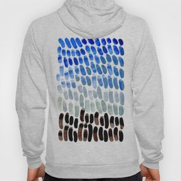 Cool Blue Frosted Winter Palette colorful watercolor Nature Pattern Hoody