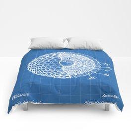 Golf Ball Patent - Golfer Art - Blueprint Comforters