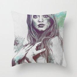 Gloria: Blue Throw Pillow