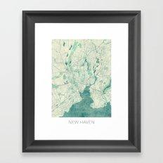 New Haven Map Blue Vintage Framed Art Print