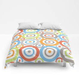 Abstract Circles Pattern Color Mix & Greys Comforters
