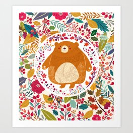 Bear in autumn forest Art Print
