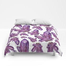 Amethyst Birthstone Watercolor Illustration Comforters
