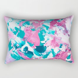 Pink turquoise modern abstract acrylic painting Rectangular Pillow