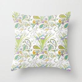 Whimsical Paisley Iris Throw Pillow