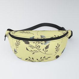 Butter Yellow and Bluebells and Bluebirds Floral Pattern Flowers in Blue and Bark Brown Fanny Pack
