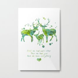 Watercolor Deer Family With Quote Metal Print