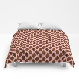 Doodle Coffee Bean Pattern on a Pink Background Comforters