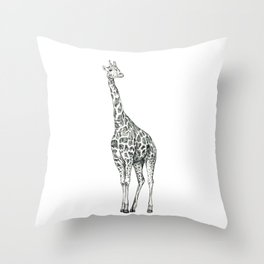 Giraffe Biro Drawing Throw Pillow