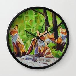 Fox Cub Four Wall Clock