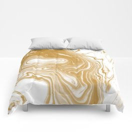 Marble gold pattern suminagashi spilled ink japanese watercolor abstract painting Comforters