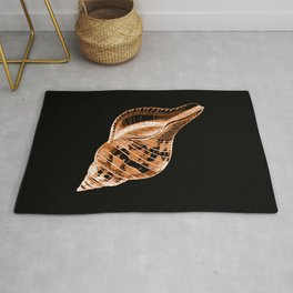 Shell nautical coastal in black background Rug