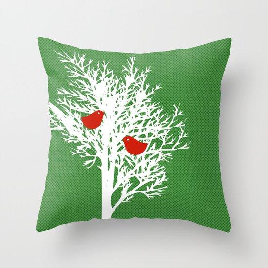 Tree Silhouette on gree pattern Throw Pillow