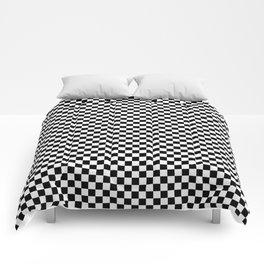 Black White Checks Minimalist Comforters