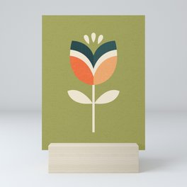 RETRO TULIP - ORANGE AND OLIVE GREEN Mini Art Print