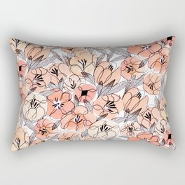 Pink Inky Floral - Watercolor Flowers - Ink Rectangular Pillow