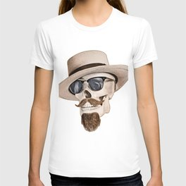 Hipster Skull in Black and White T-shirt
