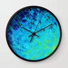 TRUE REFLECTION - Ocean Water Waves Ripple Light Impressionist Bright Colors Ombre Painting Wall Clock