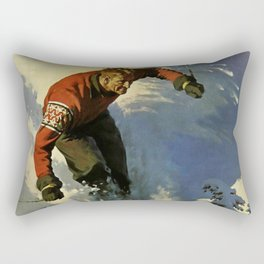 Switzerland Skiing - Vintage Poster Rectangular Pillow