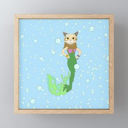 Mer-Cat Framed Mini Art Print