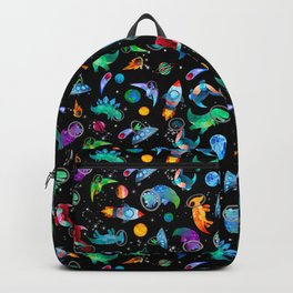 Dinosaur Astronauts In Space Watercolor Pattern Backpack