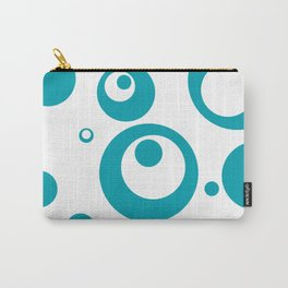 Circles Dots Bubbles :: Turquoise Inverse Carry-All Pouch