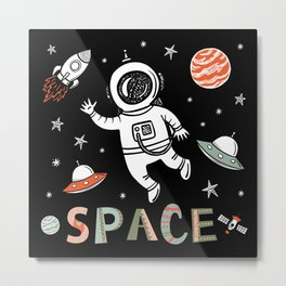 Space Astronaut and Flying saucers Metal Print