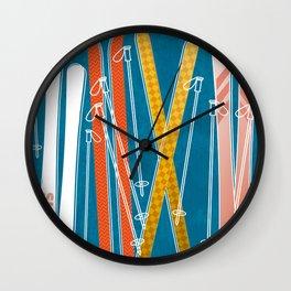 Colorful Ski Pattern Wall Clock