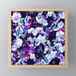 hummingbird paradise ethereal autumn flower pattern c80 Framed Mini Art Print