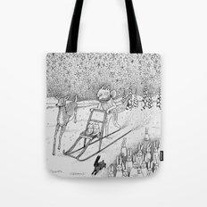 Kick-sledding Fox Tote Bag