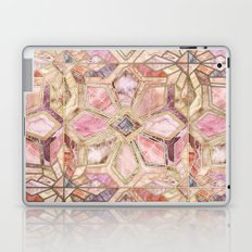 Geometric Gilded Stone Tiles in Blush Pink, Peach and Coral Laptop & iPad Skin