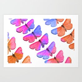 Multicolour Rainbow Butterflies I Art Print