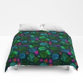 Watercolor Floral Garden in Electric Black Velvet Comforters