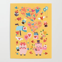 Piggies Love Love Poster