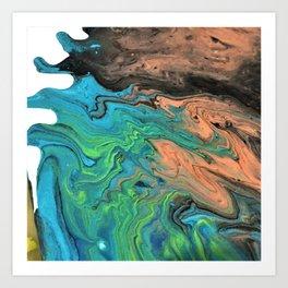 Earth & Water theme abstract acrylic art Art Print