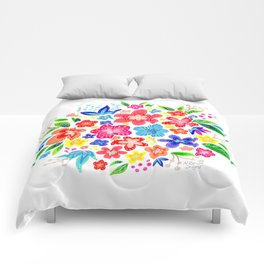 Bright Flower Bouquet Cluster Comforters