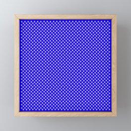Tiny Paw Prints Pattern - Bright Blue & White Framed Mini Art Print