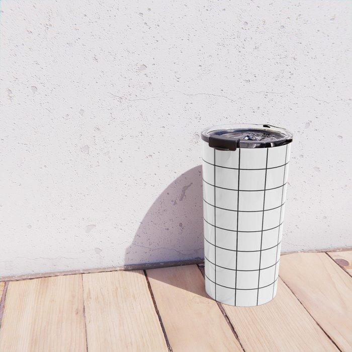 Grid Simple Line White Minimalist Travel Mug
