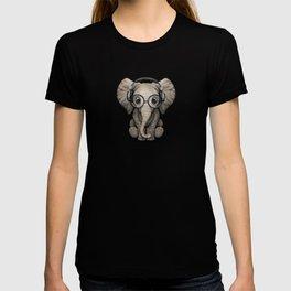 Cute Baby Elephant Dj Wearing Headphones and Glasses T-shirt