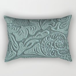 Sagey Teal Tooled Leather Rectangular Pillow