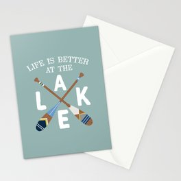 Life Is Better At The LAKE Painted Paddles Stationery Cards