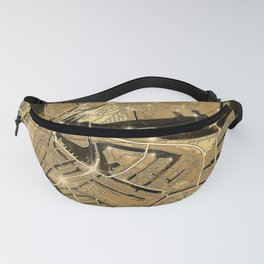 amsterdam map gold Fanny Pack