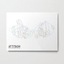 Attitash, NH - Minimalist Trail Art Metal Print